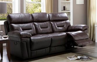 Lyon Leather and Leather Look 3 Seater Manual Recliner Premium