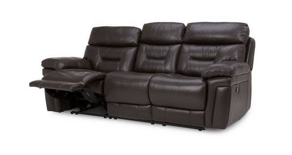 Lyon Leather and Leather Look 3 Seater Electric Recliner