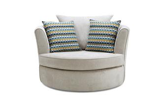 Large Swivel Chair with 2 Pattern Scatters Plaza