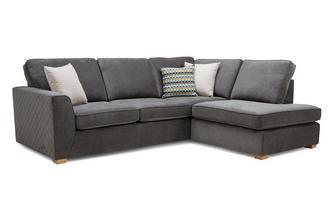 Left Hand Facing Arm Open End Deluxe Corner Sofa Bed Plaza