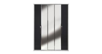 Maine 5 Door Centre Mirror Bi-Fold Wardrobe
