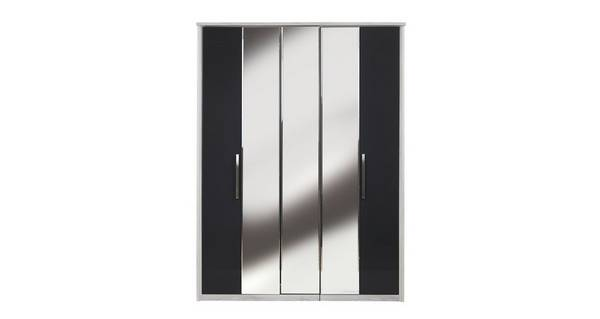 Maine 5 Door Centre Mirror Bi-Fold Wardrobe