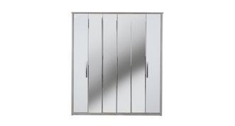 Maine 6 Door Centre Mirror Bi-Fold Wardrobe