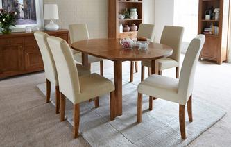 Maison Circular Round Extending Table and Set of 4 Upholstered Chairs Maison Chestnut