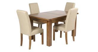 Maison Kleine uitschuiftafel en reeks van 4 gestoffeerde stoelen