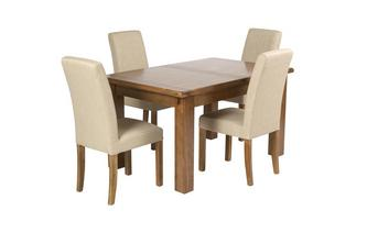 Small Extending Table and Set of 4 Upholstered Chairs Maison Chestnut