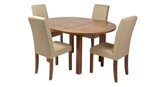 Maison Ronde uitschuiftafel en reeks van 4 gestoffeerde stoelen