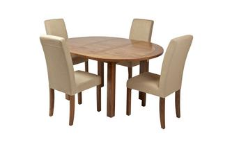 Round Extending Table and Set of 4 Upholstered Chairs Maison Chestnut