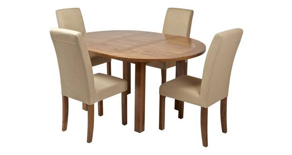 Maison Round Extending Table and Set of 4 Upholstered Chairs