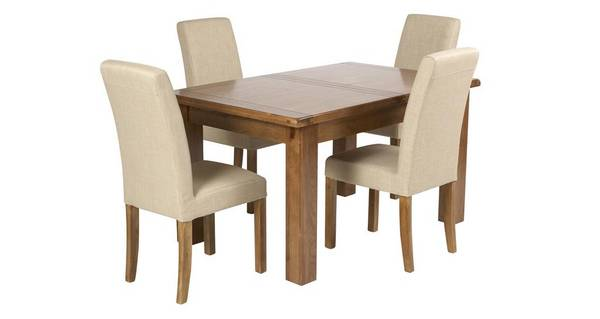 Maison Grote uitschuiftafel en reeks van 4 gestoffeerde stoelen