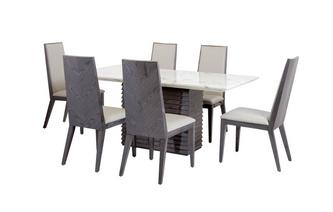 Dining Table & Set of 6 Dining Chairs Mara