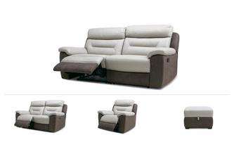 Mario Clearance 3 Seater Manual Recliner Sofa, 2 Seater Power, Power Chair & Stool Bacio Vellutato
