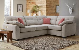 Markel Left Hand Facing 3 Seater Deluxe Corner Sofa Bed KIrkby Plain