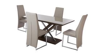 Marteni Vaste tafel & set van 4 stoelen