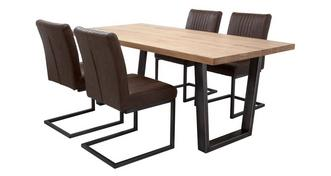 Mason Fixed Top Table & 4 Cantilever Chairs
