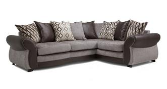 Matira Left Hand Facing 3 Seater Pillow Back Deluxe Corner Sofa Bed