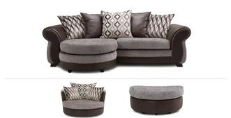 Matira Clearance 4 Seater Lounger Sofa, Swivel Chair & Half Moon Footstool