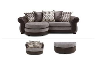 4 Seater Lounger Sofa, Swivel Chair & Half Moon Footstool Chance