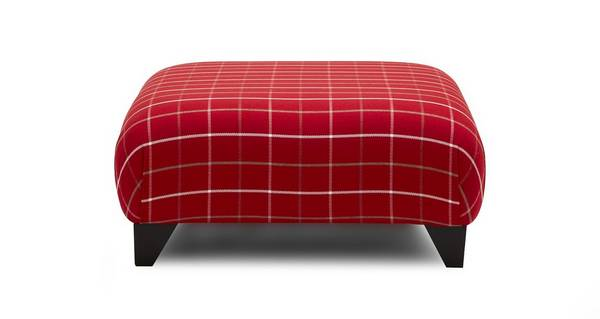Maxwell Plain Check Large Foostool