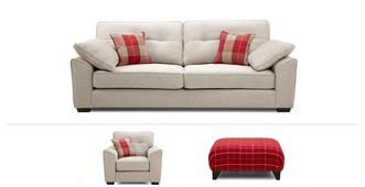 Maxwell Clearance 4 Seater, Chair & Footstool