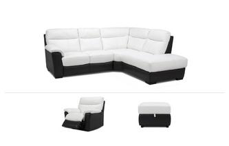 Mercier Clearance Corner Sofa, Power Recliner Chair & Footstool Essential