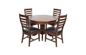 Ronde uitschuiftafel & set van 4 stoelen met rugleuning horizontale latjes  Merlot