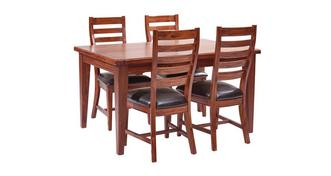 Merlot Rectangular Extending Table & Set of 4 Ladderback Chairs