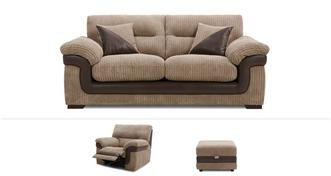 Milton Clearance 3 Seater Sofa, Power Recliner Chair & Footstool