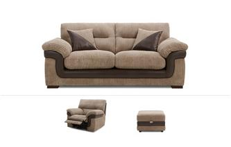 3 Seater Sofa, Power Recliner Chair & Footstool Samson