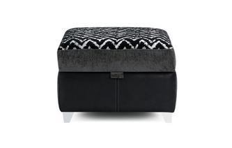 Pattern Top Storage Footstool Carrara