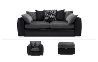 4 Seater Sofa, Chair & Stool