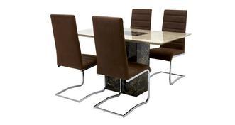 Moderno Eettafel en reeks van 4 cantilever stoelen