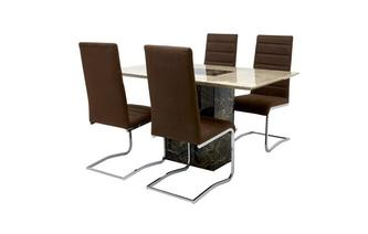 Dining Table & Set of 4 Cantilever Chairs Moderno