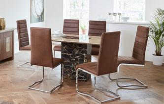 Moderno Dining Table & Set of 4 Cantilever Chairs Moderno