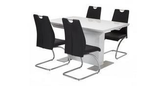 Monochrome Uitstrekt eettafel & reeks van 4 stoelen