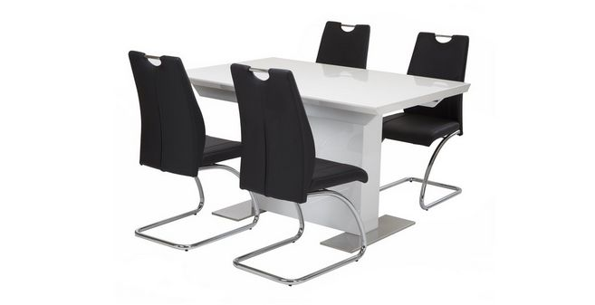 Monochrome Extending Dining Table & Set of 4 Chairs | DFS Ireland