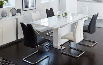 Monochrome Extending Dining Table & Set of 4 Chairs Monochrome