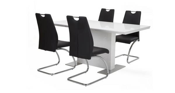 Monochrome Vaste eettafel & reeks van 4 stoelen
