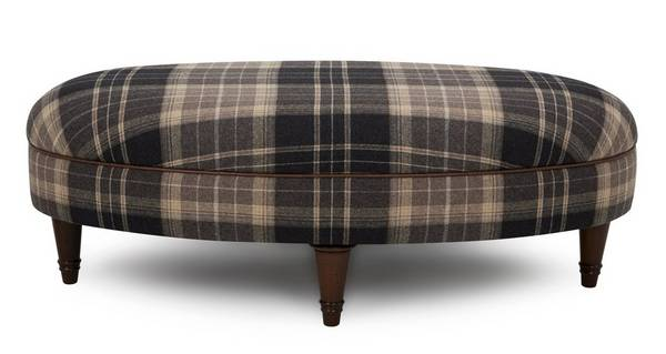 Moray Check Oval Footstool