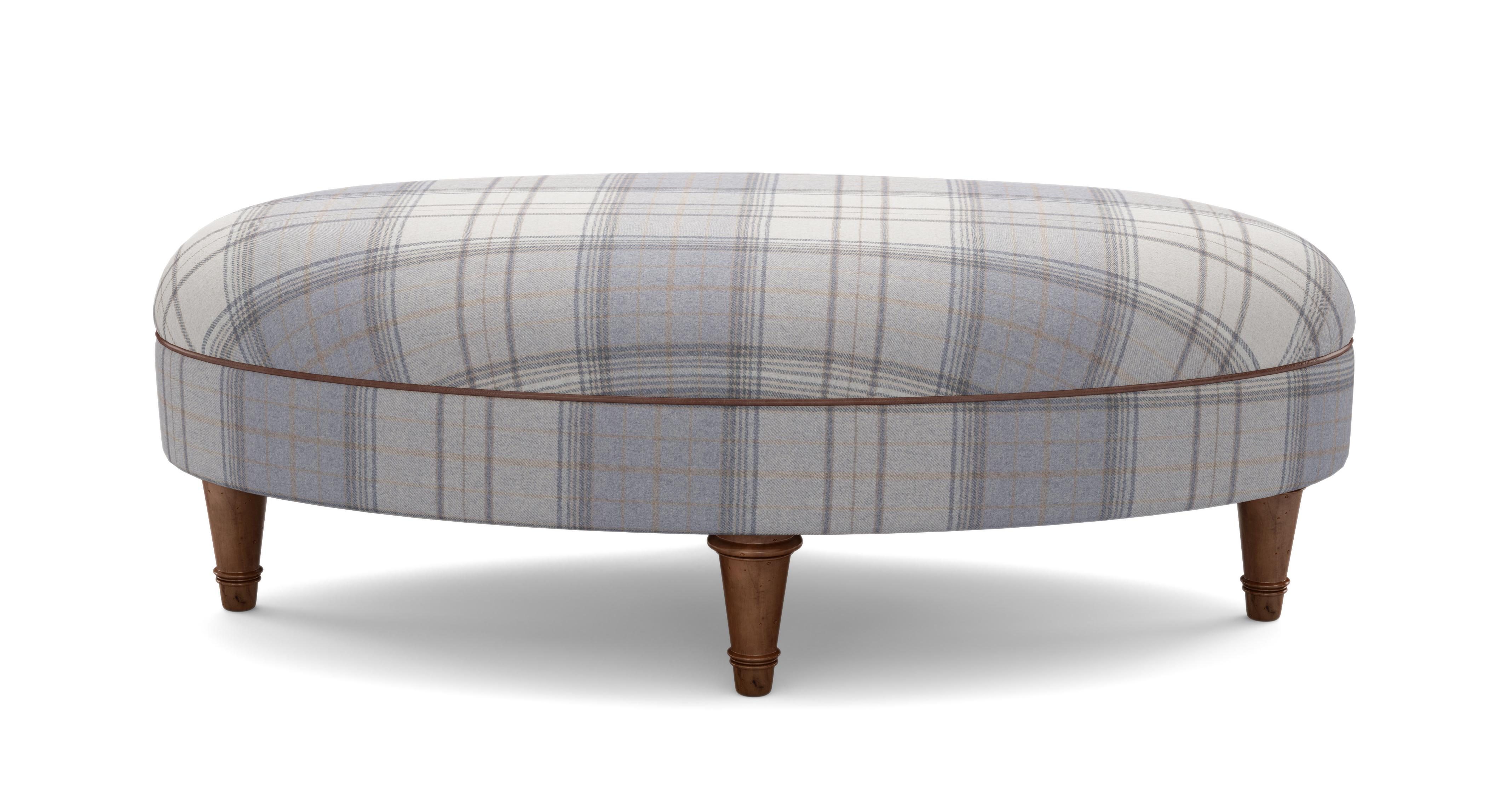 About The Moray Check Oval Footstool
