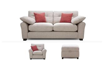 Murphy Clearance 3 Seater Sofa, Chair & Stool KIrkby Plain