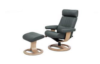 Standard Recliner Swivel Chair & Stool