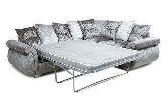 Pillow Back Left Hand Facing Arm 3 Seater Deluxe Corner Sofa Bed