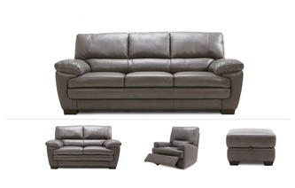 Newton Clearance 3 Seater Sofa, Small 2 Seater Sofa, Power Recliner Chair & Footstool Utah Contrast Stitch