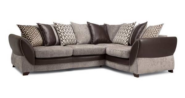 Nina Left Hand Facing Pillow Back 3 Seater Deluxe Corner Sofa Bed