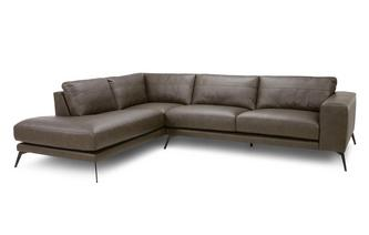 Leather Right Hand Facing Arm Open End Corner Sofa