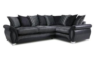Left Hand Facing 3 Seater Pillow Back  Deluxe Corner Sofa Bed Oberon