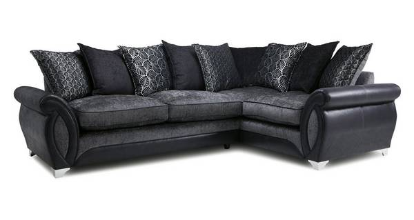 Oberon Left Hand Facing 3 Seater Pillow Back  Deluxe Corner Sofa Bed