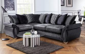Oberon Right Hand Facing 3 Seater Pillow Back Deluxe Corner Sofa Bed Oberon