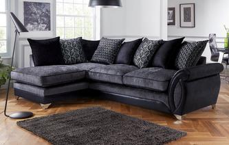 Oberon Right Hand Facing 3 Seater Pillow Back Open End Corner Sofa Oberon